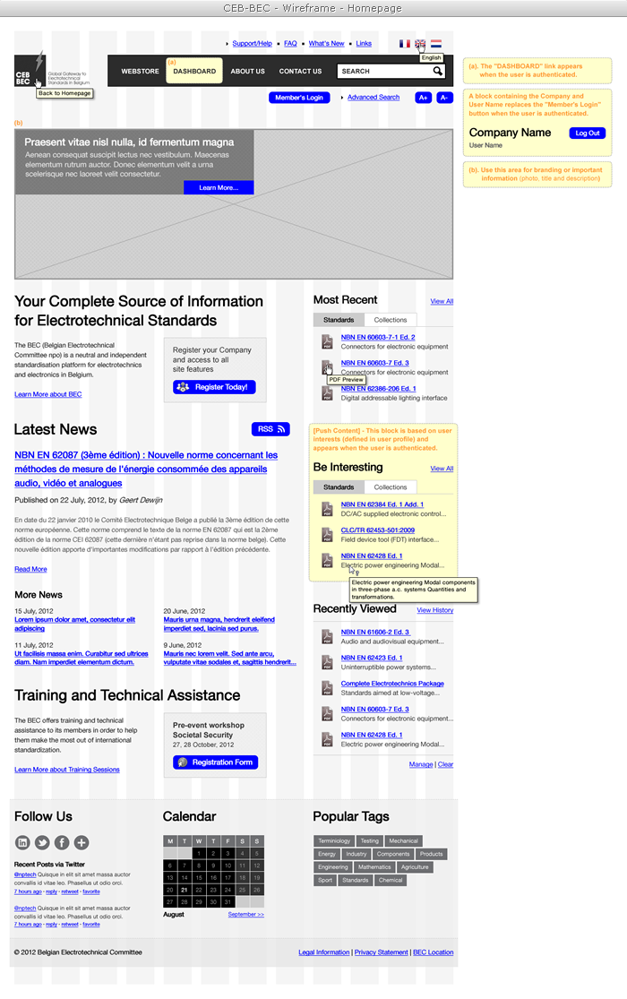 The Belgian Electrotechnical Committee eCommerce Portal (wireframe)