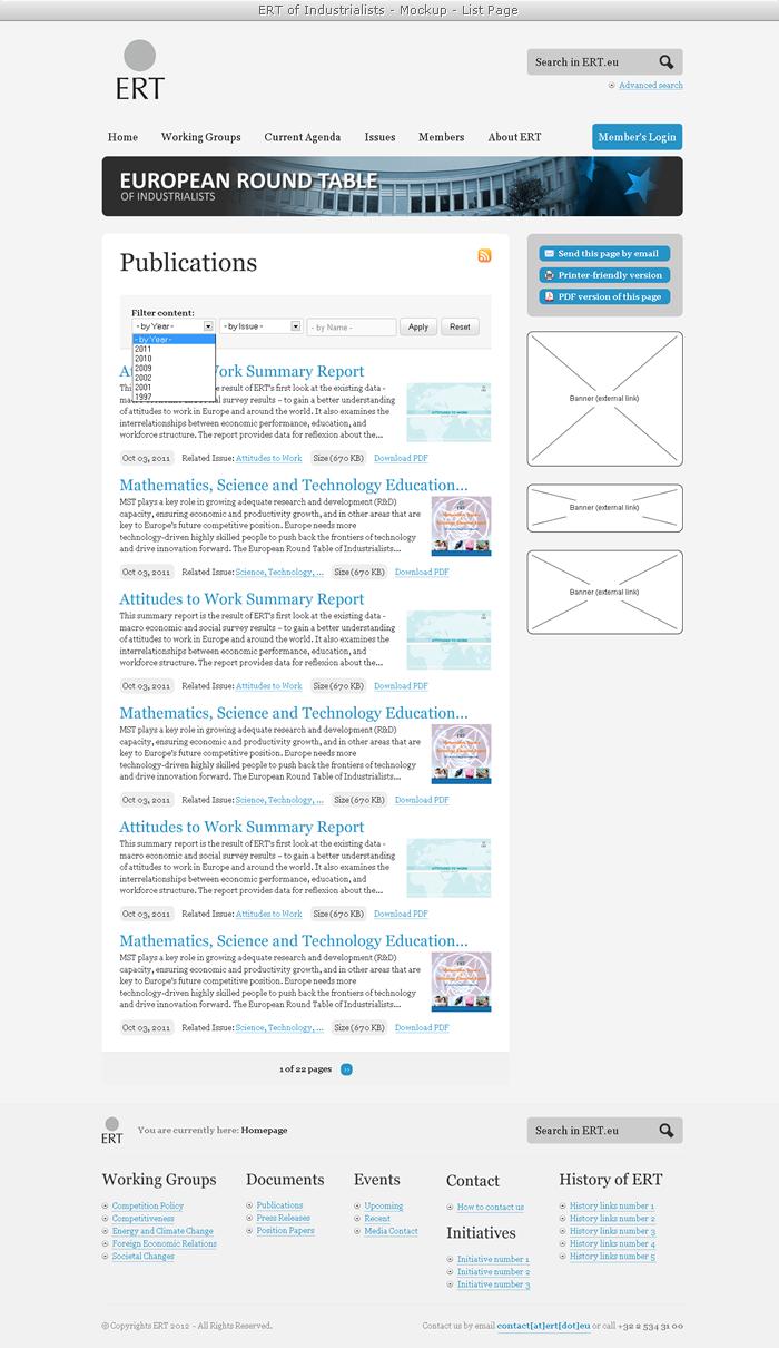 ERT of Industrialists - Mockup - Publications (List Page)