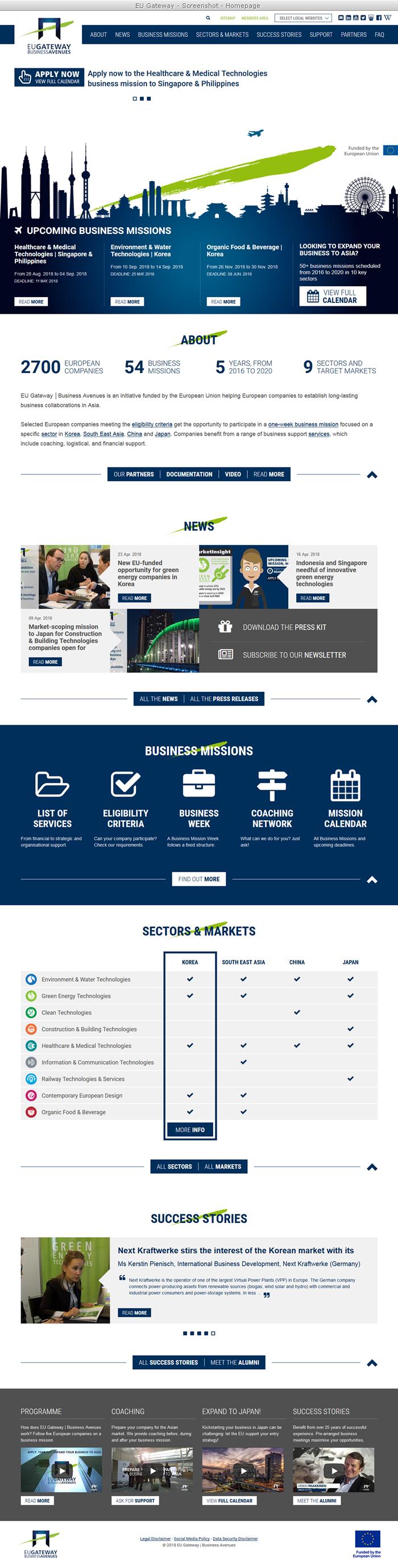 EU-Gateway Program - Homepage - Screenshot
